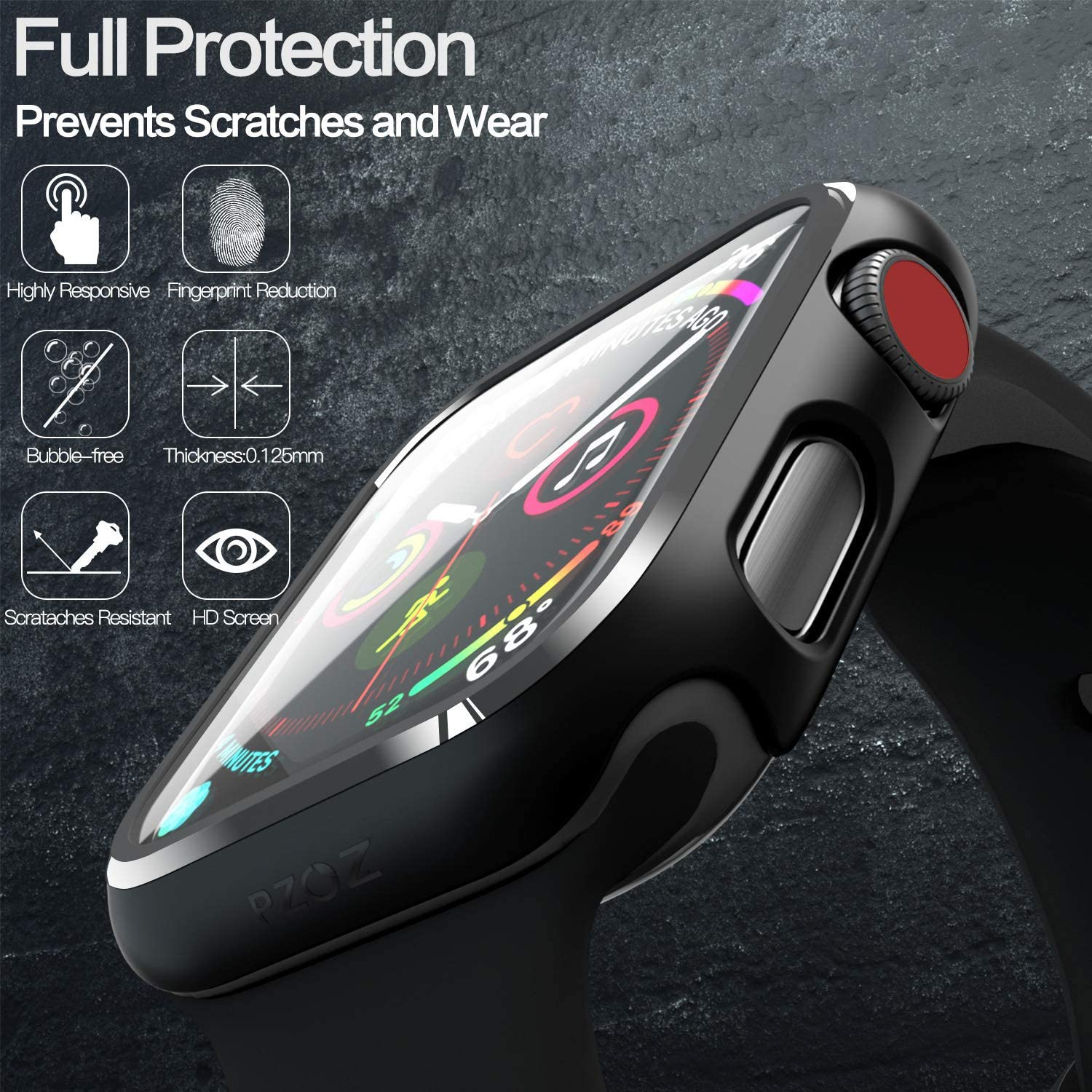 Compatible Apple Watch Series 6 SE Case 44mm 40mm Glass Film With Screen Protector Full Coverage For Iwatch 6 5 4 3 2 42mm 38mm 3