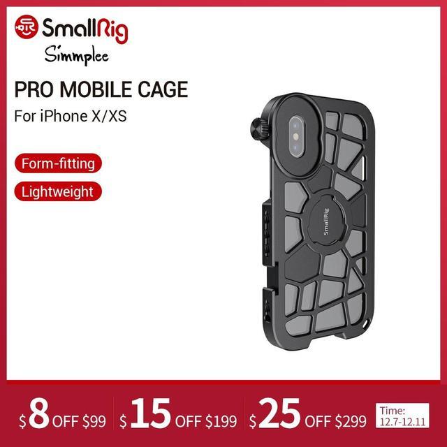 SmallRig Pro נייד כלוב עבור iPhone X/XS הדוק Vlogging וידאו ירי כלוב עם קר נעל הר 2414