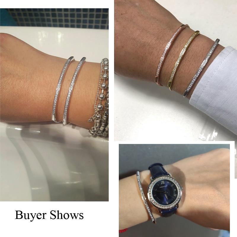 CWWZircons Adjustable Bracelet Bangle for Women Captivate Bar Slider Brilliant CZ Rose Gold Color Jewelry Pulseira Feminia CB089 1