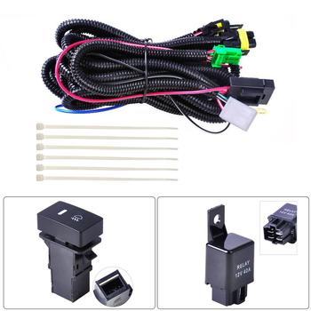 цена на H11 Fog Light Lamp Wiring Harness Socket Wire Connector With 40A Relay & ON/OFF Switch Kits Fit LED Work Lamp
