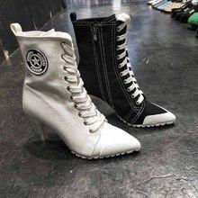 2019 nowe buty damskie buty PU wysokie obcasy 8CM buty damskie kostki sznurowane buty na cienkim obcasie Sexy osobowość buty zimowe damskie