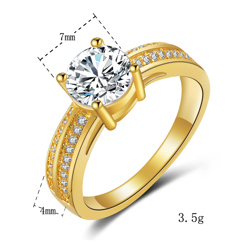 18K Gold Ring  Classic Diamond Jewelry Engagement Wedding Ring Fashion Rings US SIZE 7,8 Gold Color Trendy Jewelry Wedding Gift