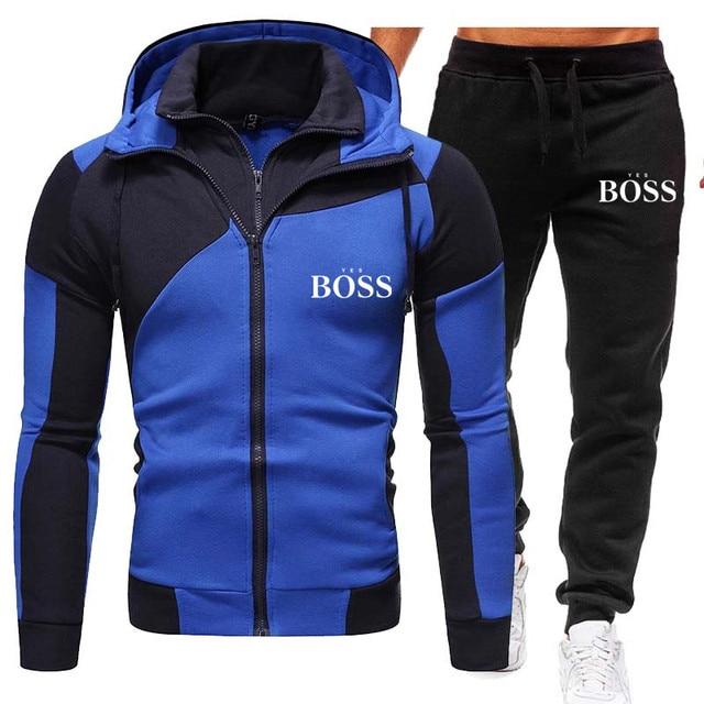 Winter Men's Tracksuit 2 Pieces Set Hoodies+Pants Sport Suits for Men Sweatshirt Zipper Hoodies Men's Clothing Sets Sportswear 5