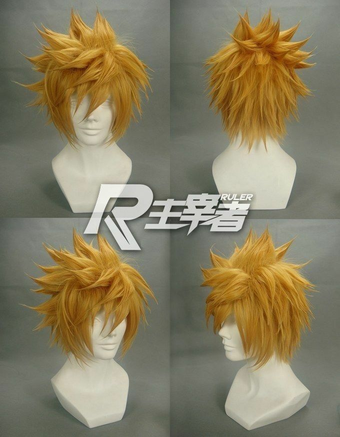 Kingdom Hearts Roxas Short Flip Out Golden Blonde Cosplay Wig