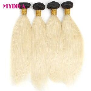 1B 613 Ombre blond brazylijski wiązki splecionych prostych włosów 2 Tone ciemne korzenie kolor platyny nie Remy doczepy z ludzkich włosów Mydiva