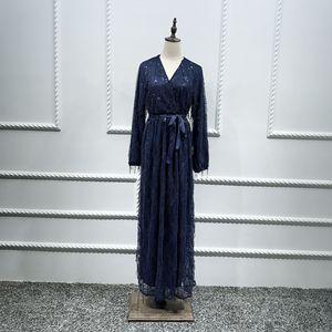 Image 5 - Di modo di Paillettes Nappa Abaya Turco Abiti Hijab Musulmano Abito Da Dubai Abaya per Le Donne Caftano Marocain Caftano Abbigliamento Islamico