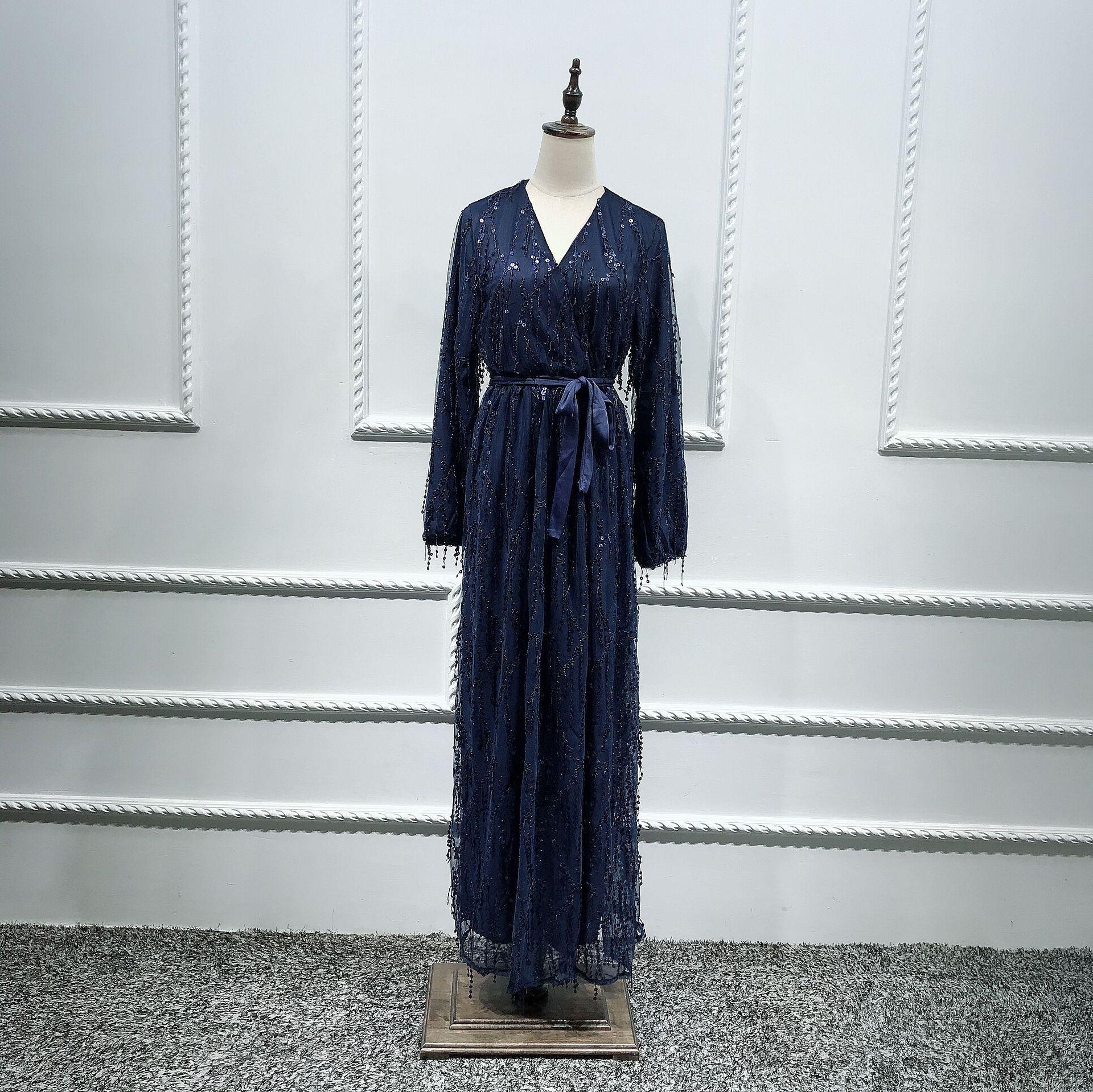 Image 5 - Fashion Sequin Tassel Abaya Turkish Dresses Hijab Muslim Dress Dubai Abayas for Women Caftan Marocain Kaftan Islamic ClothingIslamic Clothing   -