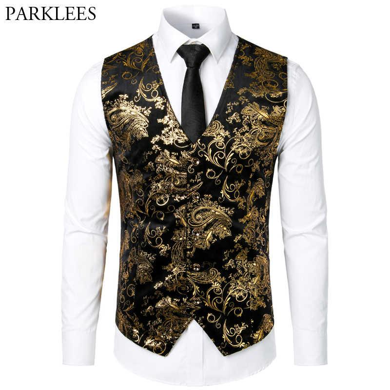 Mannen Jacquard Bloemen Vest Luxe Shiny Bronzing Mannen Pak Vesten Nachtclub Party Mannen Jurk Vest Casual Mens Bruiloft Vest Gilet