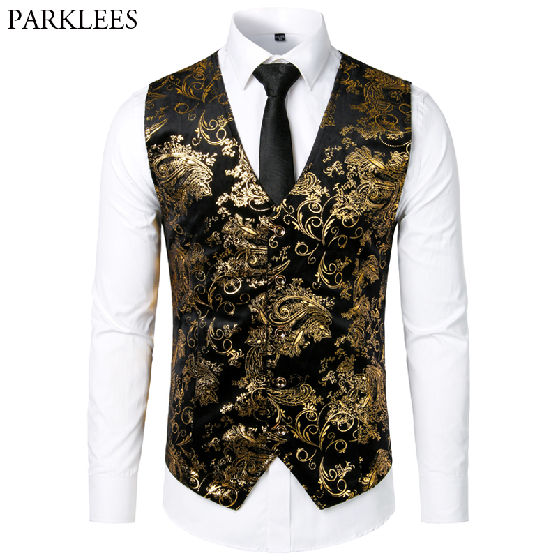 Men Jacquard Floral Vest Luxury Shiny Bronzing Men Suit Vests Nightclub Party Men Dress Vest Casual Mens Wedding Waistcoat Gilet