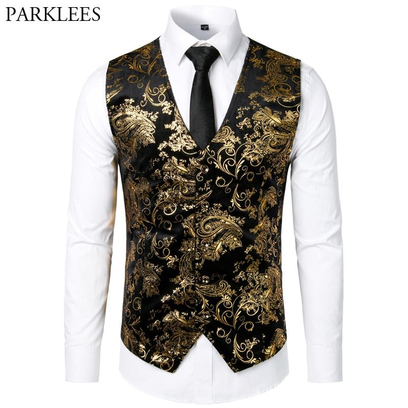 Men Jacquard Floral Vest Luxury Shiny Bronzing Men Suit Vests Nightclub Party Men Dress Vest Casual Mens Wedding Waistcoat Gilet
