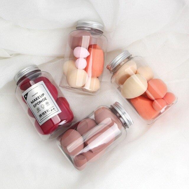 8 pièces/boîte double usage maquillage correcteur bouffée différentes formes outils cosmétiques ensemble avec bouteille éponge bouffée
