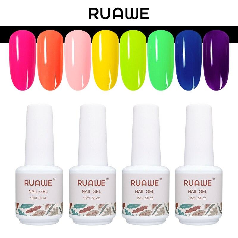 RUAWE Nail Gel Polish Candy Color UV Neon Gel Nail Polish Fluorescent Varnish Need Top Base Coat Nail Art Design Neon Lacquer in Nail Gel from Beauty Health
