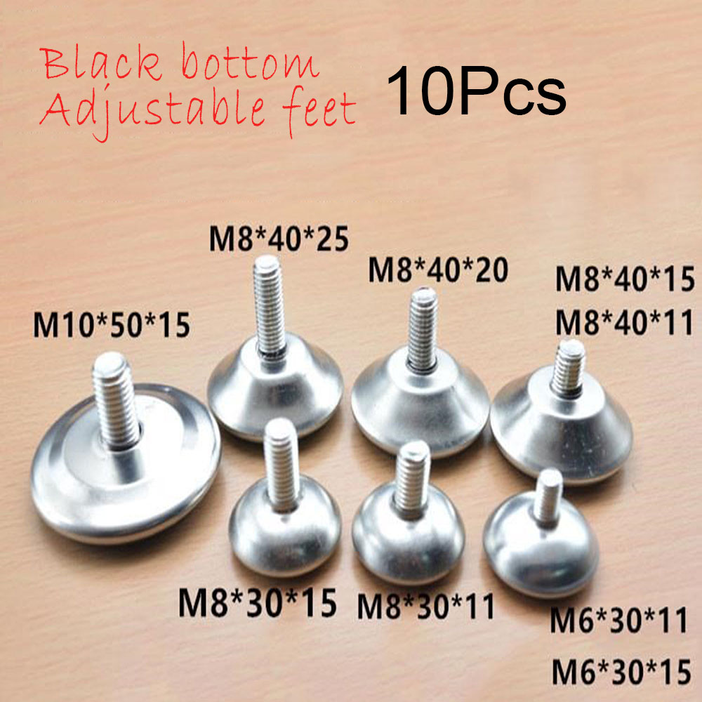10Pcs Bolt Chair Feet Floor Protector Sofa Cabinet Table Adjustable Leveling Leg Glide Base Screw-in Furniture Accessory M10/8/6