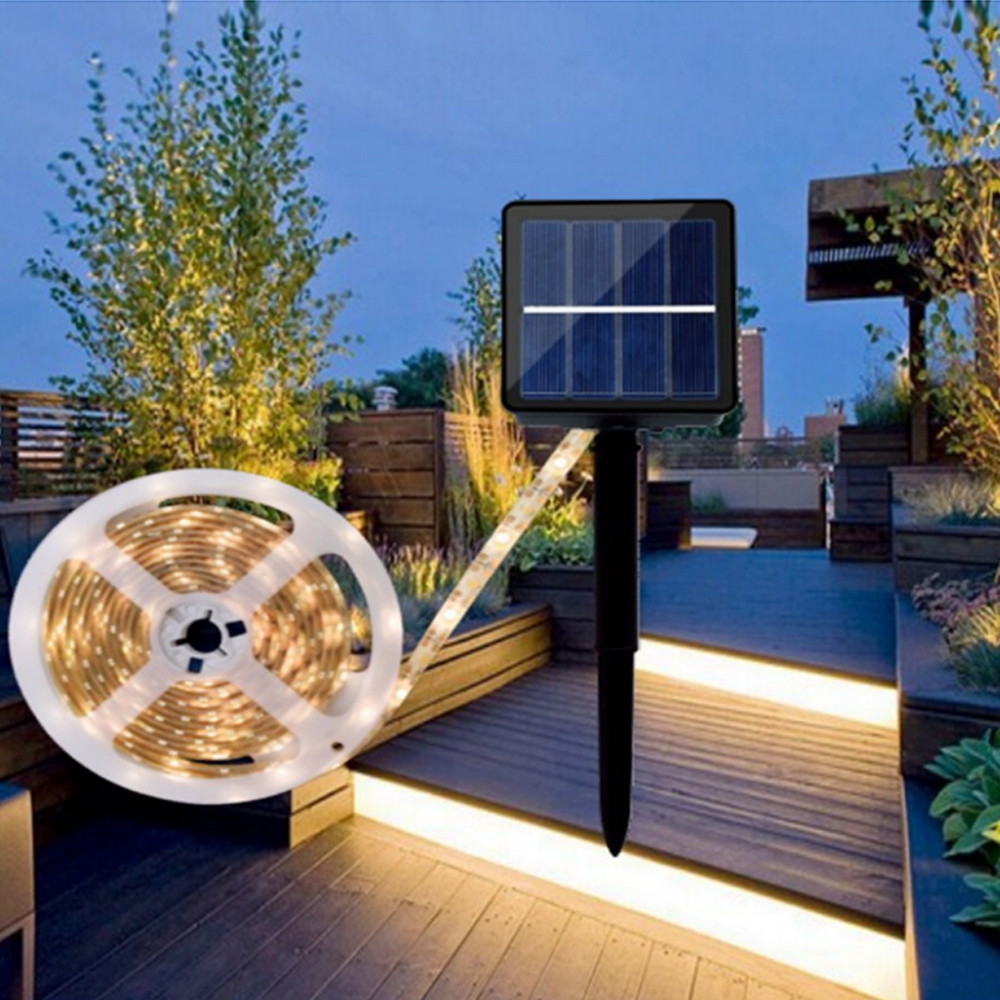 LED Solar Strip Light SMD 2835 IP65 Waterproof Led Strip 30Leds/m RGB/Warm White /White LED Ribbon Tape 8 Modes 3m 5m