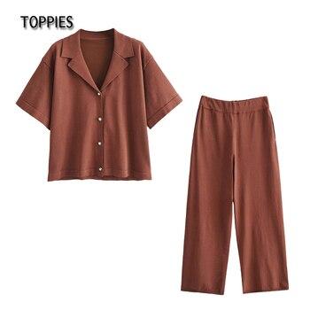 Toppies Summer Pajamas Causal Two Piece Set Homewear Women T shirts and Pants Sleepwear Pearls