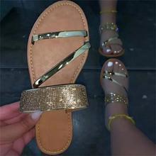 Женская обувь из искусственной кожи с подошвой с инкрустацией стразы, белого цвета, с открытым носком, обувь на плоской подошве повседневны...