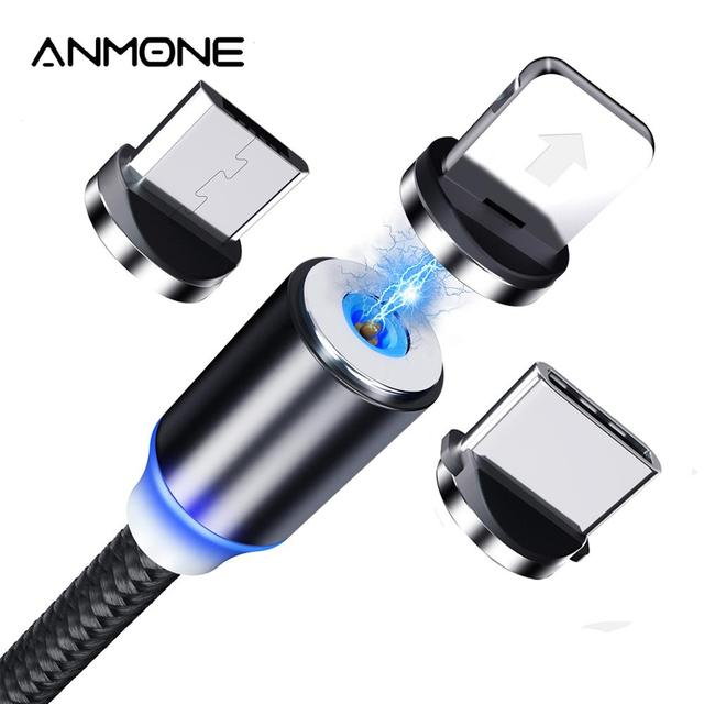 ANMONE Magnetic Micro USB Cable Magnet Plug Type C Charge 3 In 1 Cord for iPhone Huawei Samsung XiaoMi Magnet Charge Wire 1