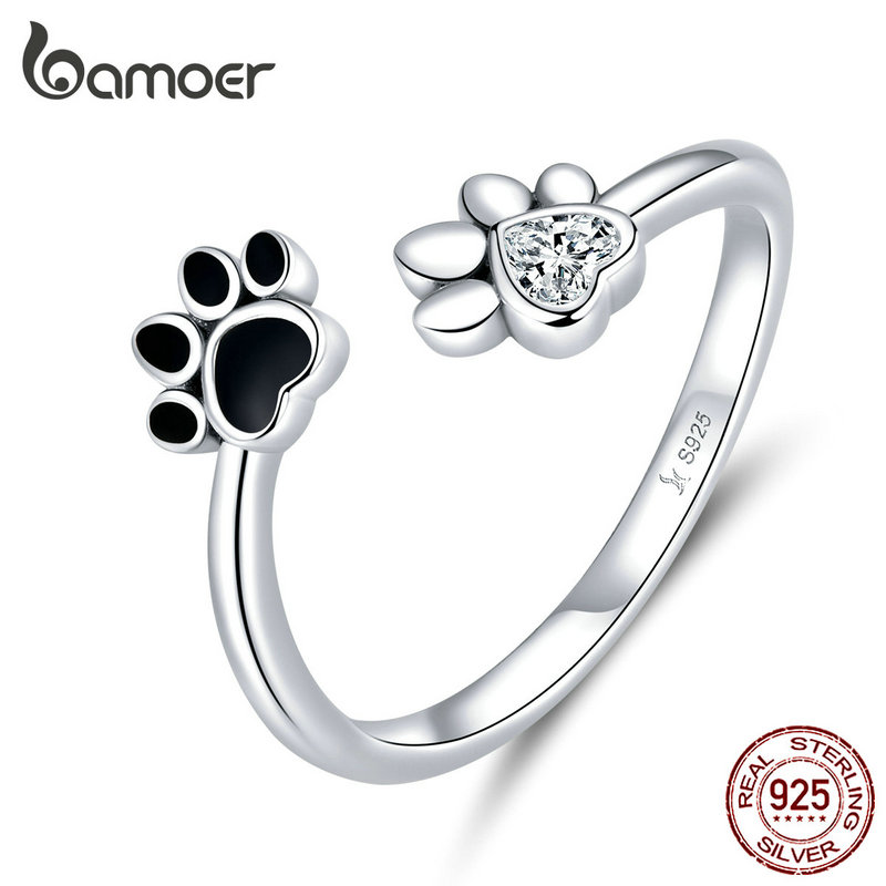 bamoer Sterling Silver 925 Black Enamel Dog Paw Open Adjustable Finger Rings for Women Anti-allergy Jewelry Accessories SCR605 image