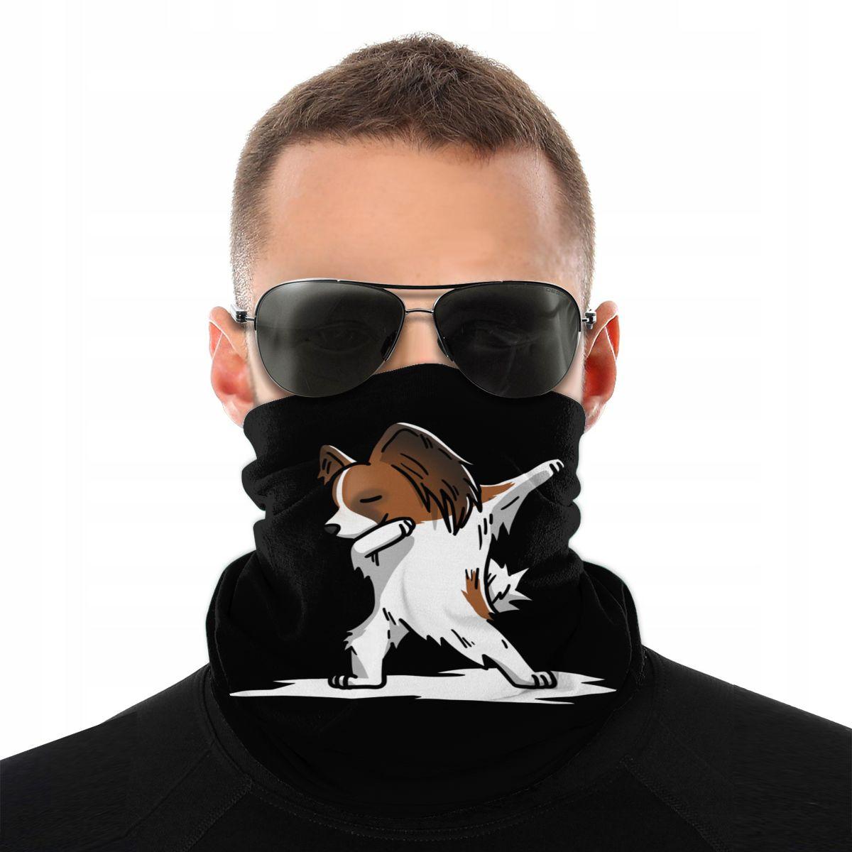 Funny Dabbing Papillon Dog Magic Scarf Neck Face Mask Fashion Tube Scarf Seamless Bandanas Polyester Headwear Outdoor Hiking