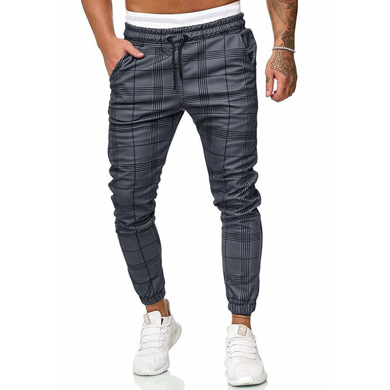 2019 Autumn Streetwear Pants Men Casual Plaid Men Pants Slim Fit Sporting Sweatpants Mens Joggers Trousers Running Pants