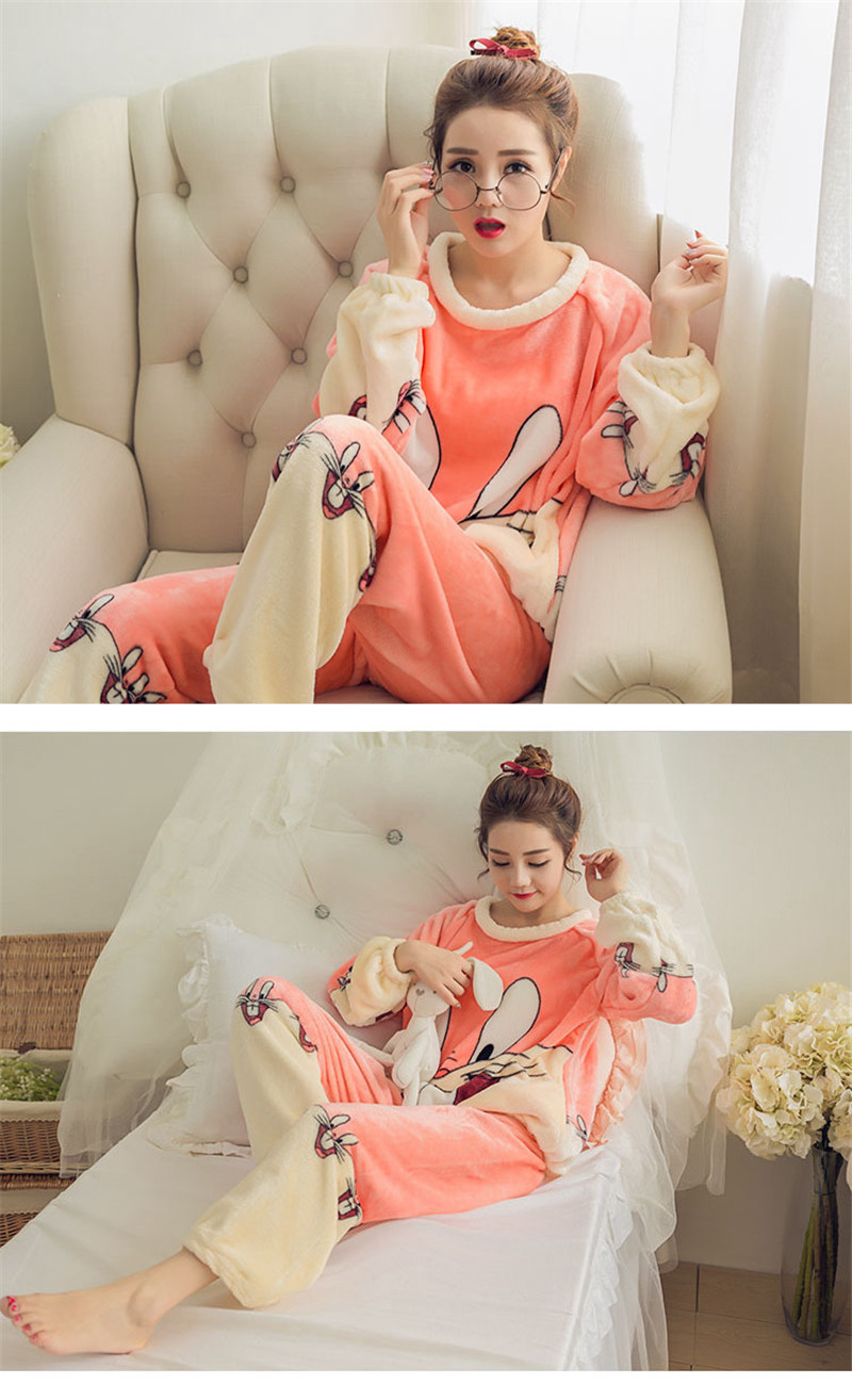 JULY'S SONG Flannel Women Pajamas Sets Autumn Winter Pajamas Cartoon Thick Warm Women Sleepwear Cute Animal Female Homewear 26