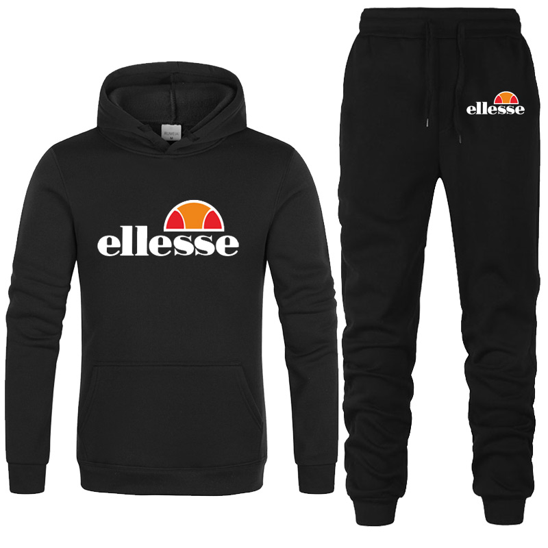 2019 Autumn Winter Two Piece Set Men Tracksuit Casual Fitness   Ellesse Hoodies + Pants  Sets Mens Sweat Suit