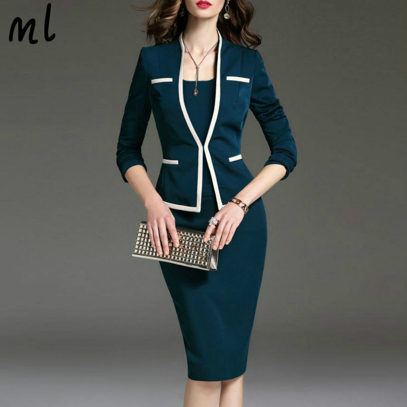 6XL Plus Size Spring Autumn Female Dress Suits Ladies Suits For Office Wear Suit Dress Jacket 2 Pieces Set Women Fashion Coat
