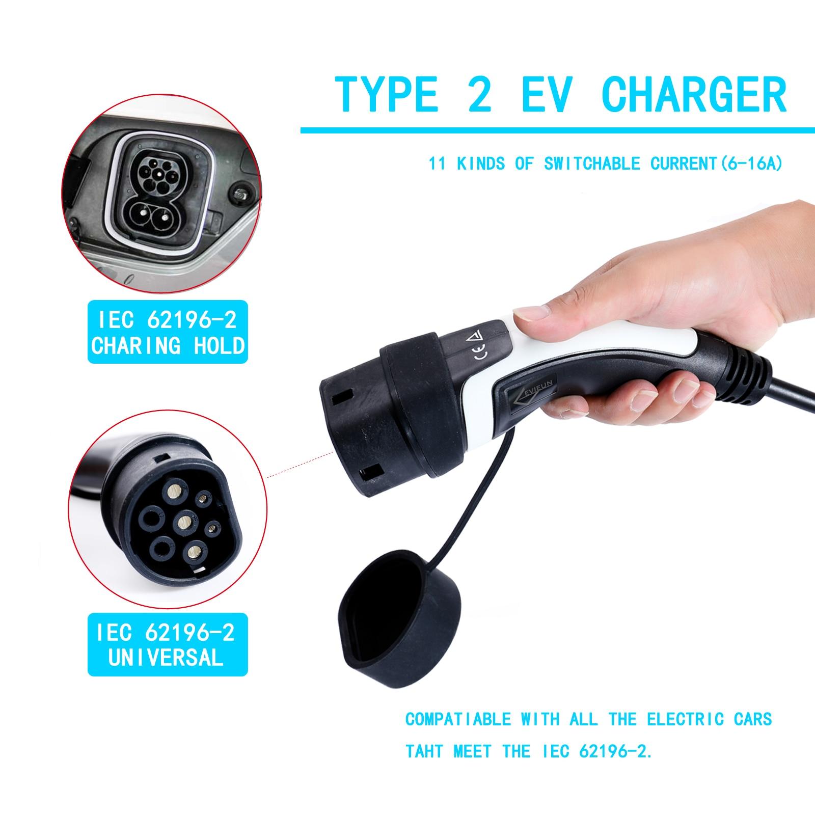 EUR standard Type 2 EV chargeur EVSE Station prise 100 V-240 V 16A pour voiture électrique