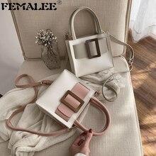 Women Contrast Color Handbags Brand Luxury Big Buckle Hand Bag