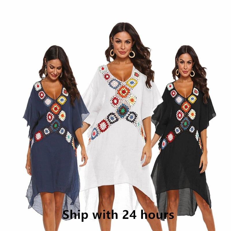 Women Beach Dress Cover-ups Swimsuit Cover Up Swimwear Beachwear  White Long Swim Suit For Woman Crochet Summer Tunic Dresses
