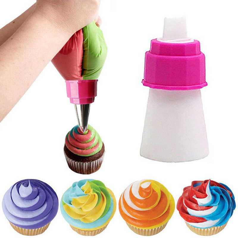 1 PC Icing Piping Casing Nozzle Converter Tri-Warna Cream Coupler Kue Nozel Adaptor DIY Piala Kue Baking Dekorasi tips Set