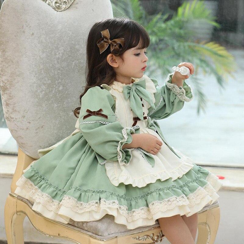 Abito Vintage spagnolo per bambini originale Baby Girl Lolita Princess Ball Gown 2020 autunno inverno bambini abiti verdi di natale