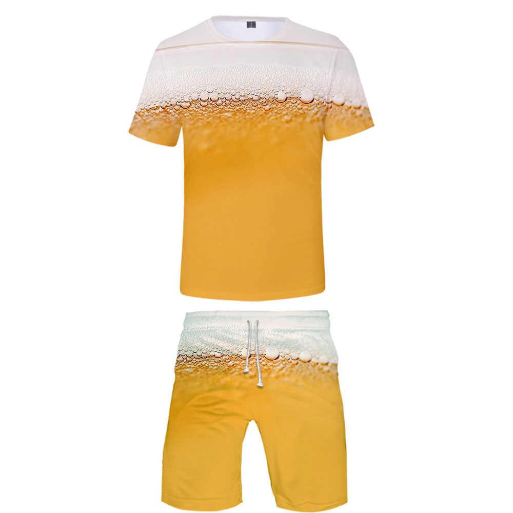 New Fashion Cool 3D Suit Beer Man O-Neck T-Shirt + Shorts Set Boy Beer Print Creative Suit Harajuku Streetwear Hip Hop Man Suit
