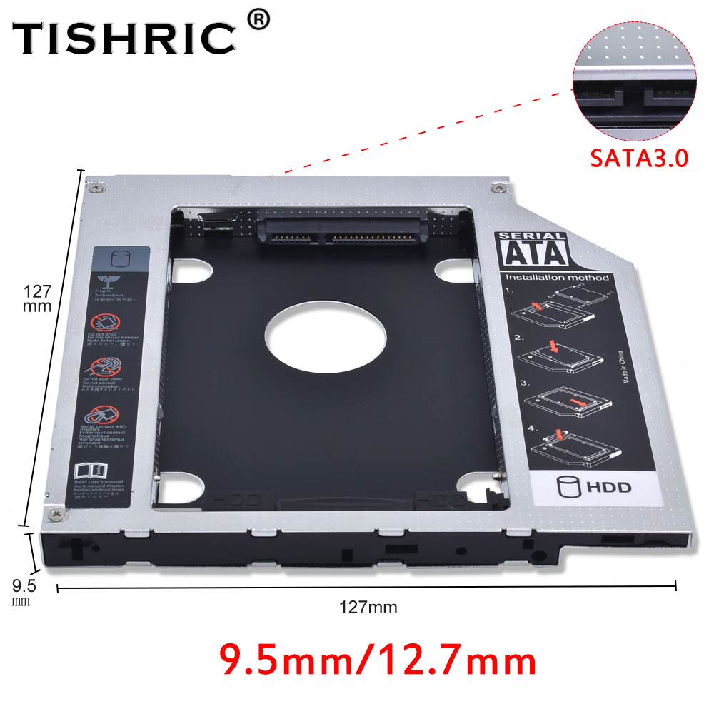 TISHRIC все Алюминий Hdd Caddy SATA 3,0 Корпус для жесткого диска 9,5 мм 12,7 мм жесткий диск для ноутбука CD-ROM DVD-ROM оптического устройства