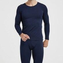 Underwear Leggings Warm-Pants Long-Johns-Set Men Winter for Round Collar Lightweight