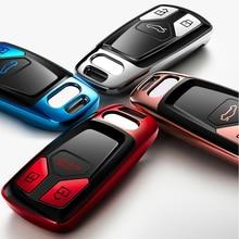 Hohe Qualität TPU Chrome Auto Schlüssel Abdeckung Schlüssel Tasche fit für Audi A4 A5 Q7 S4 TT RS4 Q5L Neue schlüssel Shell Protector Auto Schlüssel Fall Ketten