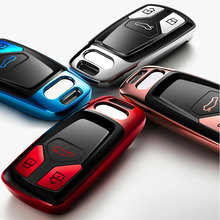 Housse de clé de voiture en TPU chromé, housse de clé pour Audi A4 A5 Q7 S4 TT RS4 Q5L, coque protectrice, nouvelle boîte de clé automatique