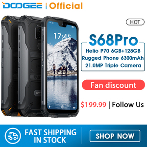 DOOGEE S68 Pro IP68 Waterproof Rugged Phone Helio P70 Octa Core 6GB 128GB Wireless Charge NFC 6300mAh 12V2A Charge 5.9 inch FHD+(China)