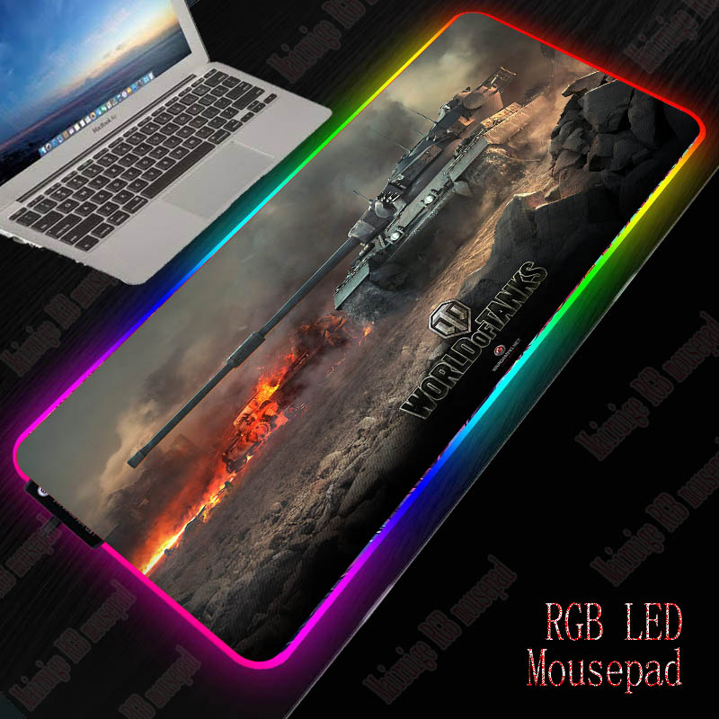 XGZ World Of Tanks RGB Large Gaming Computer Gamer USB Wired LED Lighting Colorful Luminous Non-slip Mousepad Desk Pad Mice Mat