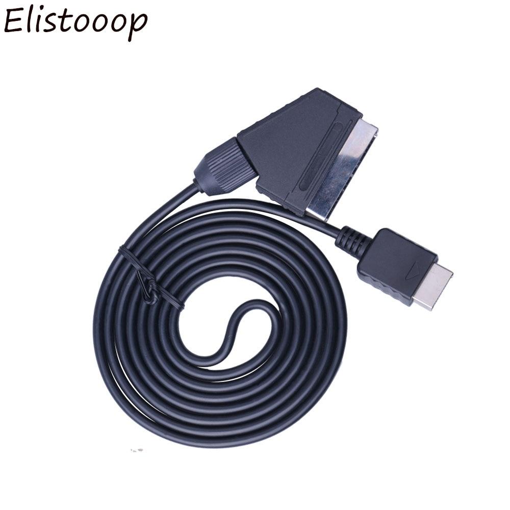 Elistooop scart cabo tv av chumbo rgb real scart cabo substituir cabo de conexão para playstation ps1 ps2 ps3 magro