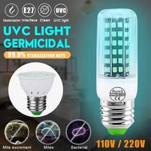 220V 110V UV Germicidal Lamp LED UVC Bulb E27 Household Disinfection Sterilizing Light with Remote&Timer