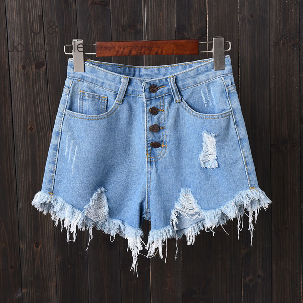 Jocoo Jolee Plus Size 6XL Denim Shorts Korean Style Hollow Out Tassel Short Jeans Vintage High Waist Button Fly Jean Shorts
