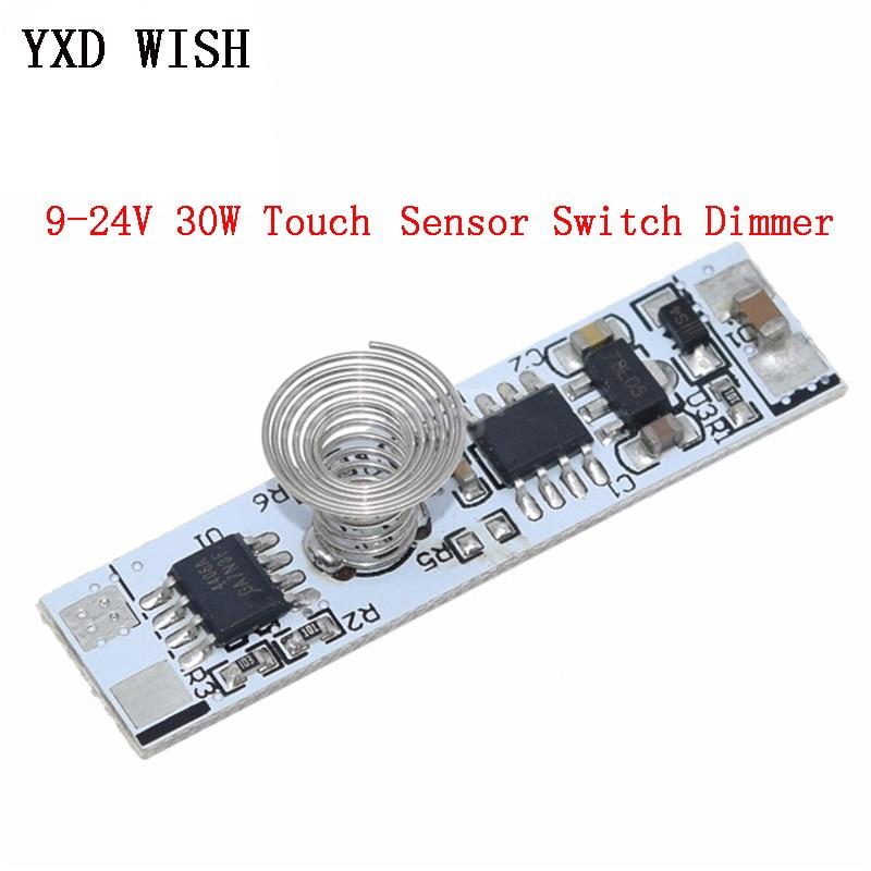 Interruptor capacitivo de sensor touch, interruptor de mola de led para casa inteligente com dimmer 24v 30w 3a