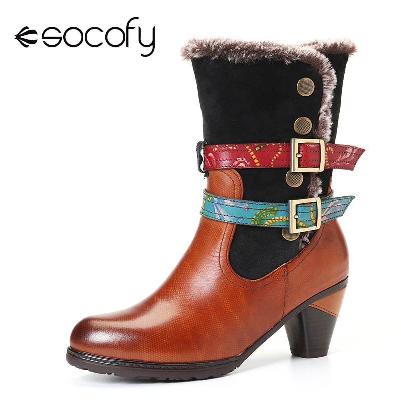 SOCOFY Retro Boots Warm Cozy Fur Colorful Buckle Strap Stylish Winter Short Boots Elegant Shoes Women Shoes Botas Mujer 2020