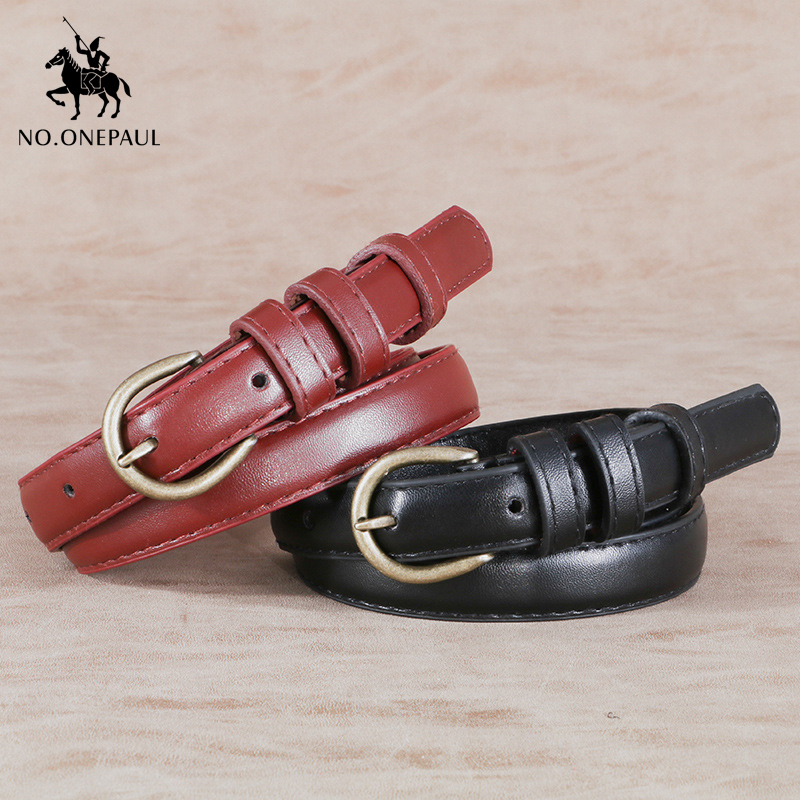 NO.ONEPAUL Ladies new small fresh retro simple fashion leather   belt   wild jeans shirt narrow belly   belt   student alloy pin buckle