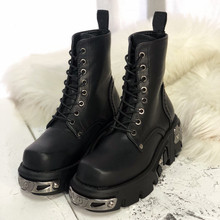 Punk Style Women Ankle Boots Black 6CM Platform Boot High Tops Military Boots Metal Decor Autumn Winter Botas Mujer