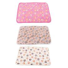 Soft Coral Fleece Paw Foot Print Warm Pet Blanket Sleeping Beds Cover Mat(China)