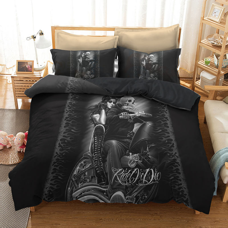 3D Skull Printed Bedding Sets Black Background A Monk Riding A Motorcycle Carrying A Beautiful Woman Printing Bedding Sets