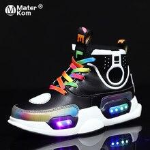 Crianças iluminado sapatos crianças tênis para meninos meninas brilhantes tênis luminoso para crianças krasovki com retroiluminação led chinelos