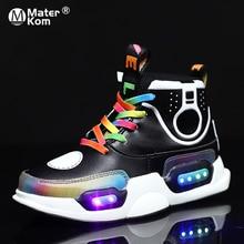 Dziecięce podświetlane buty dziecięce chłopięce buty sportowe typu Sneakers dziewczyny świecące tenisówki Luminous dla dzieci Krasovki z podświetleniem Led pantofle